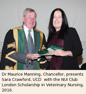 : Dr Maurice Manning, Chancellor, presents Ms Niamh McGrath, a graduate of UCC with the Club London Scholarship in Food Science, 2015.