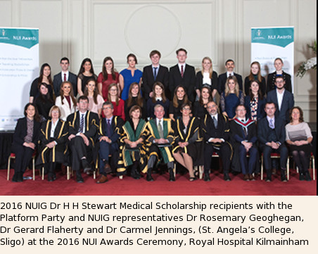 Group Photo 2016 NUIG Dr H H Stewart Medical Scholarship Recipients
