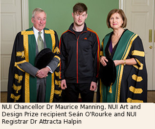 NUI Art and Design Prize Winner 2016 Sean O'Rourke, Dr Maurice Manning, Dr Attracta Halpin