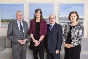 Dr Maurice Manning, NUI Chancellor; Dr Aline Courtois, 2014 NUI Dr Garret FitzGerald Fellow; Prof Patrick Clancy, Emeritus Professor of Sociology, UCD; Dr Attracta Halpin, NUI Registrar