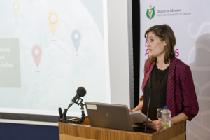 "2014 NUI Dr Garret FitzGerald Fellow Dr Aline Courtois presents her fellowship research on ""The Significance of International Student Mobility in Students' Strategies at Third Level in Ireland"" in the College of Anaesthetists, 5 December 2017"