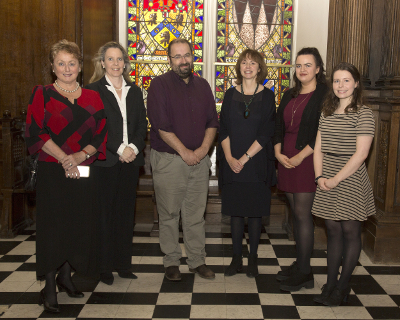 2017 Dr H H Stewart Literary Scholarship recipients with UCD academics: Denise Griffin (Scholarship Latin), Dr Derval Conroy (French, UCD), Dr Martin Brady (Latin, UCD),Dr Ursula Fanning (Italian, UCD), Clíona Nic Lochlainn (Scholarship in Italian and Commendation Prize in French), Áine Burns (Prize in German)