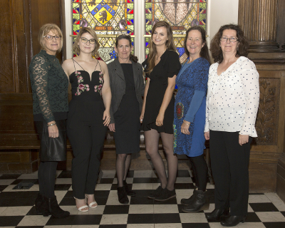 (L–R) Ms Siobhan Smyth; Ms Ciara Moloney, 2017 Dr H H Stewart Prize recipient in Psychiatric Nursing; Ms Cahla Moloughney, 2017 Dr H H Stewart Prize recipient in Midwifery (and guest); Ms Sally Millar and Ms Anne Fallon, all NUI Galway