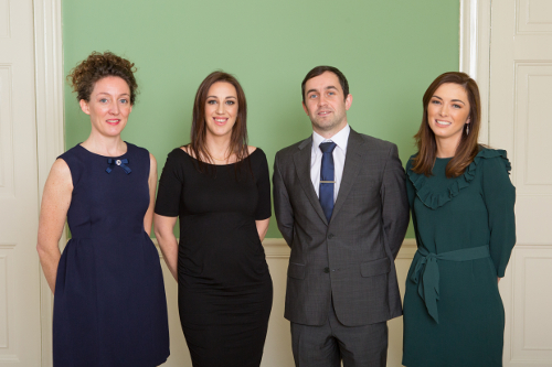 L-R: Dr Deirdre Ní Chonghaile and Dr Niamh Wycherley, recipients of the 2016 NUI Post-Doctoral Fellowships in Irish and Celtic Studies; Dr Brian Hughes and Dr Bronagh McShane, recipients of the 2016 NUI Post-Doctoral Fellowship in Humanities.