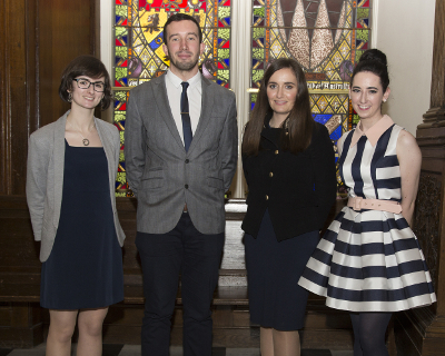 L-R: 2018 NUI Travelling Studentship recipients: Eileen Coughlan, Sociolinguistics, NUIG; Sylvester Byrne, Medicinal Chemistry, NUIG; Martina Moyne, NUI Denis Phelan Scholarship recipient, UCD & NCAD; Gisele Eugenia Connell, Geopolitics, Maynooth University.