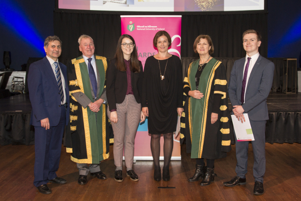 2018 Spanish Embassy and NUI Prizes for Proficiency in Spanish winners with NUI and Spanish Embassy representatives (L-R) Adolfo Carbón, Education Advisor, Embassy of Spain in Dublin; NUI Chancellor Dr Maurice Manning; Clare Geraghty, Maynooth University; Aileen Meade, UCC; NUI Registrar Dr Attracta Halpin; Seán O'Keeffe, UCD.