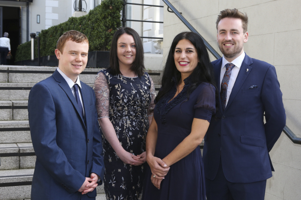 L-R: 2019 NUI Travelling Studentship recipients in the Humanities and Social Sciences: Keith Harrington, Laura Cashman, Claire Raissian and Daire Boyle..