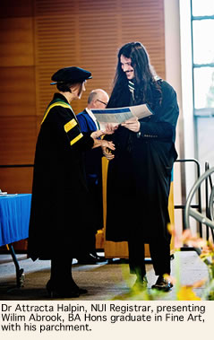 Dr Attracta Halpin Registrar NUI Presenting Graduate Wilim Abrook with his parchment