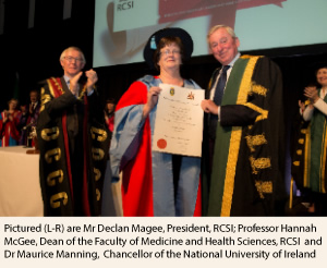Mr Declan Magee Professor Hannah McGee and Dr Maurice Manning NUI Chancellor