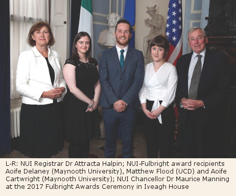 NUI-Fulbright award recipients With NUI Chancellor and Registrar