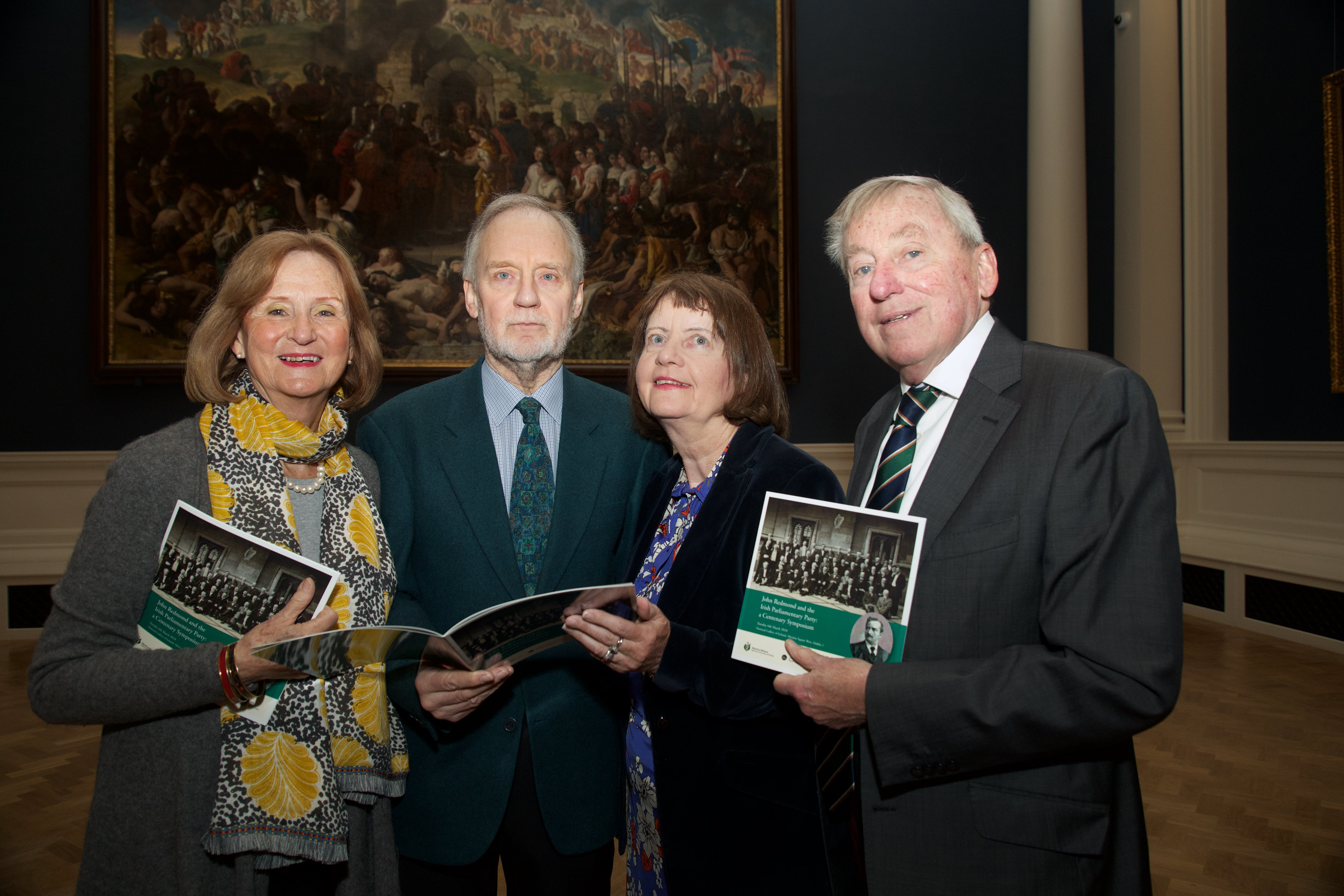 Barbara Lockyer, John Green and Mary Green, great-granchildren of John Redmond, pictured with Dr Maurice Manning, Chancellor of NUI.