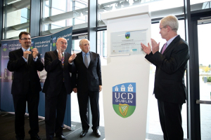 Peter Sutherland (centre) at the official opening of the UCD Sutherland School of Law with (from left), Professor Colin Scott, Ruari Quinn, former Minister for Education, and Dr Hugh Brady, former President of UCD.