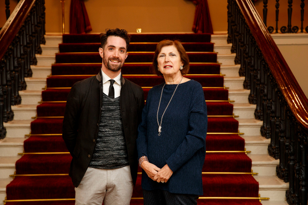 Fulbright-NUI Scholar Award 2019-2020 recipient Dr John Greaney with Dr Attracta Halpin, Registrar, NUI at the recent Fulbright Awards Ceremony in Dublin Castle.