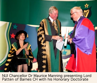 NUI Chancellor Dr Maurice Manning Presenting Lord Patten of Barnes CH with his Honorary Doctorate