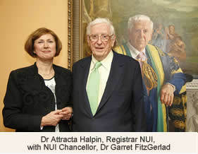 Dr Attracta Halpin Registrar NUI with NUI Chancellor Dr Garret FitzGerald