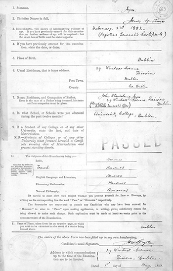 James Joyce Matriculation Application Form