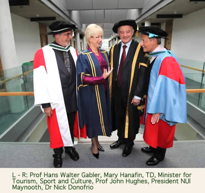 Prof Hans Walter Gabler, Mary Hanafin, TD, Minister for Tourism, Sport and Culture, Prof John Hughes, President NUI Maynooth, Dr Nick Donofrio